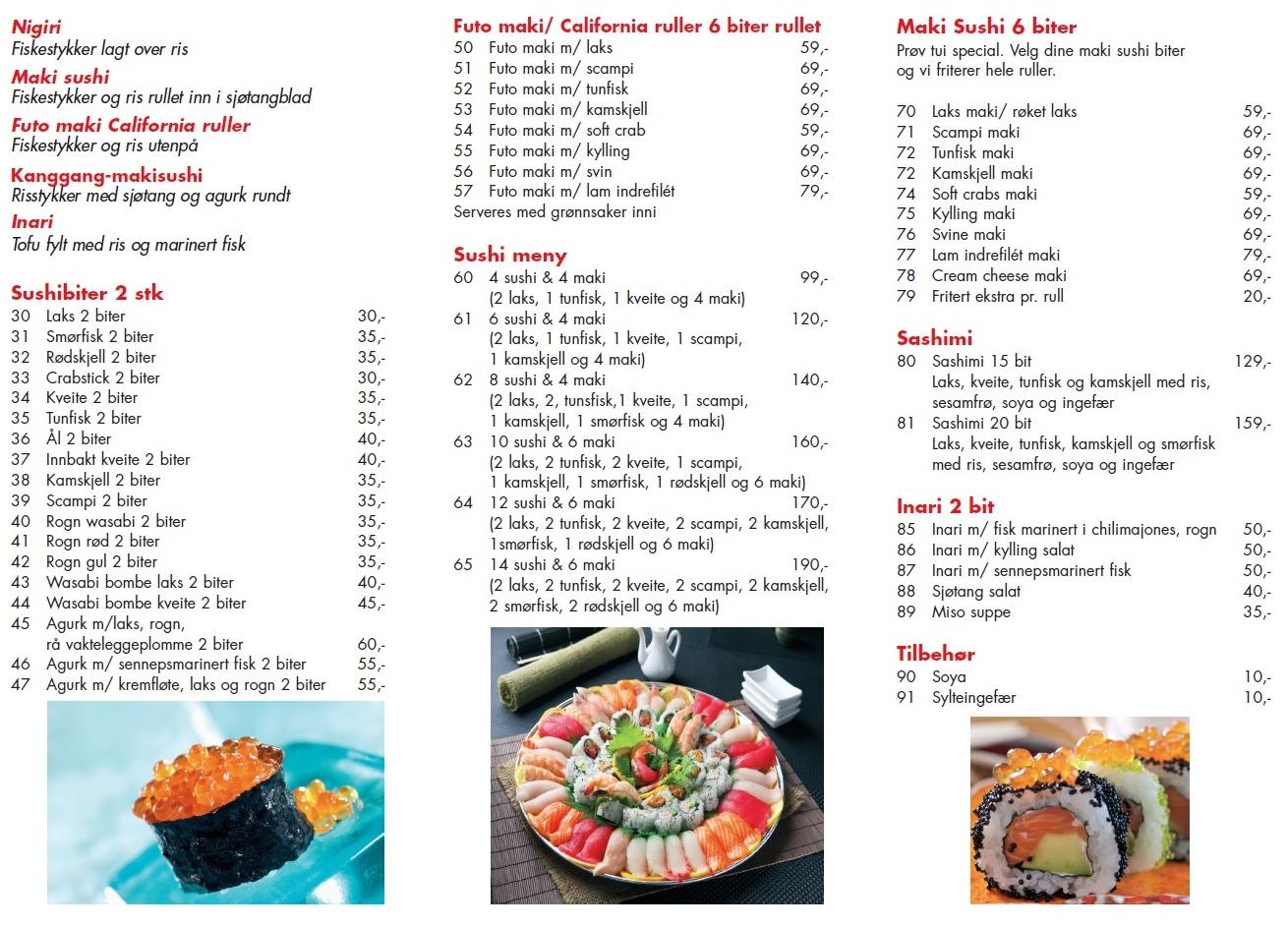 Sushi fredrikstad meny